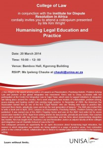 UNISA Poster for Humanising Legal Education