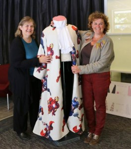 Kim with superhero judge's robe at HiiL with Corry van Zeeland