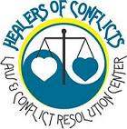 Healers of Conflicts Logo. Yin-yang with hearts and scales.