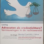 University of Hasselt poster for Advocaten als vredestichters