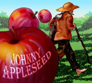Johnny Appleseed with apples