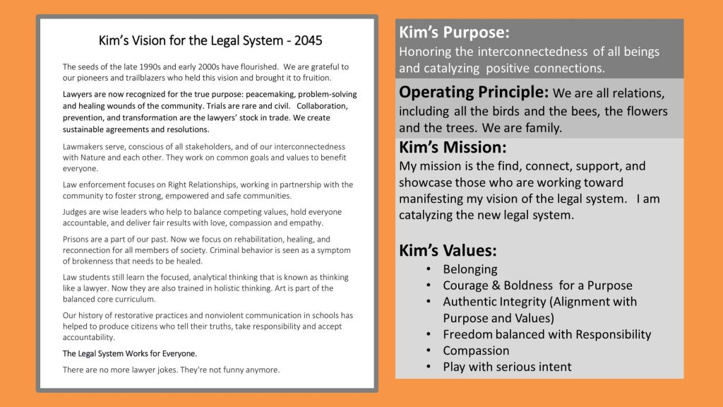 Kim's mission, purpose, values, and vision